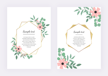 Wedding invitation with polygonal geometric frame, golden lines with leaves eucalyptus. Botanical design template for save the date, banner, poster, card, placard, flyer, invite