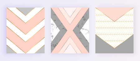 Marble with geometric design, golden lines, triangular shapes. Pink, gray background. Modern cover templates for invitation, wedding, placard, birthday, brochure, banner, cover, layout, card, flyer Ilustracja