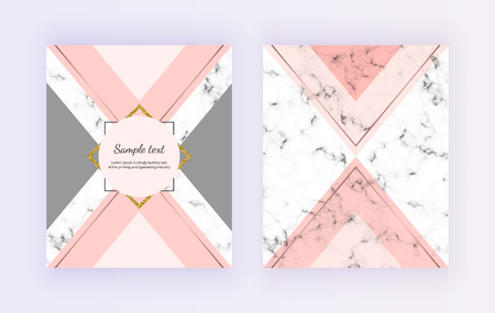 Marble geometric cover design. Pink, gray, golden lines background. Trendy template for banner, card, flyer, invitation, party, birthday, wedding, placard, magazine, website, deco Ilustracja