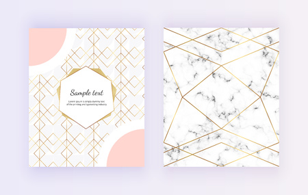 Geometric design with golden polygonal lines on the marble texture. Trendy elegant luxury frame. Template for invitation, card, banner, wedding, placard, poster, party, flyer, brochure Ilustracja