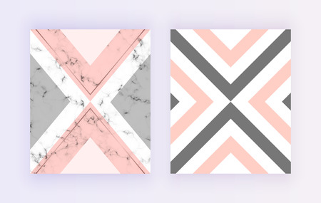 Marble geometric cover design. Pink, gray, golden lines background. Trendy background for banner, card, flyer, invitation, party, birthday, wedding, placard, magazine, website, deco