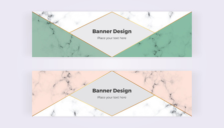 Geometric web banners with pink and green triangles. Modern luxury and fashion design with marble texture. Horizontal template for business, card, flyer, invitation, social media.