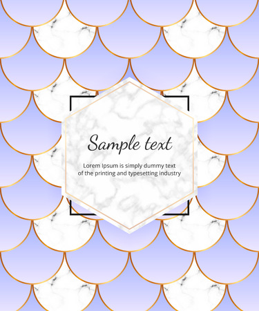 Modern cover with mermaid scales. White marble texture, golden lines. Trendy backgrounds for birthday, party, banner, layout, card, flyer, packaging