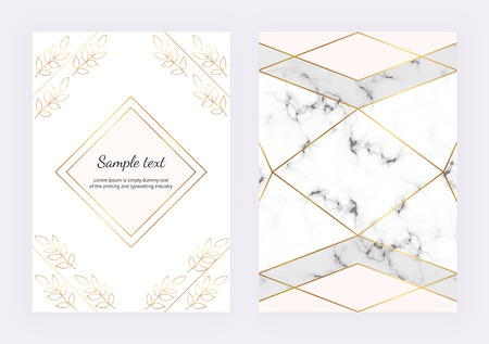 Trendy marble texture with geometric polygonal golden lines. Contour spring flowers. Card, banner, wedding, placard, poster, save the date, layout, flyer Ilustracja