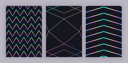 Set trendy holographic geometric design. Colorful polygonal lines on black background. Modern pattern for flyer, invitation card, banner, placard, poster, layout, brochure, party, birthday