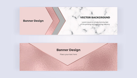 Geometric web banners with pink foil triangles. Modern luxury and fashion design with marble texture. Horizontal template for business, card, flyer, invitation, social media.