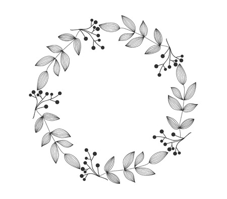 Hand drawn wreath, contour lines leaves. Floral frame for wedding, invitation and holiday. Decorative elements for design, isolated on white background. Vector illustration. Ilustracja