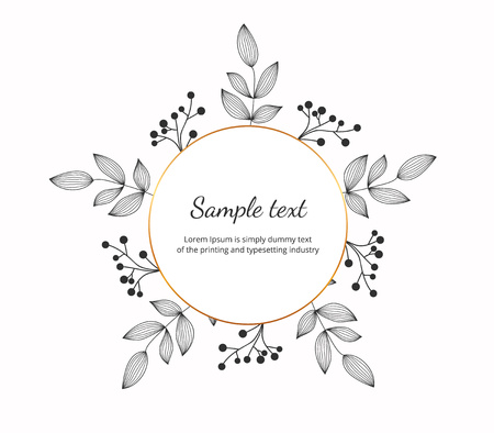 Banner with hand drawn wreath, contour lines leaves. Floral frame for wedding, invitation and holiday. Decorative elements for design, isolated on white background. Vector illustration.