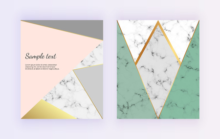 Geometric design with pink, green and gray lines. Wedding, placard, birthday, brochure, banner, cover, layout, card, flyer Ilustracja