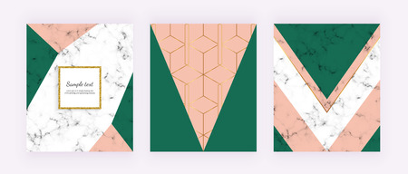 Modern cover with geometric shapes, pink and green triangular shapes. Wedding, placard, birthday, brochure, banner, banner, cover, layout, card, flyer