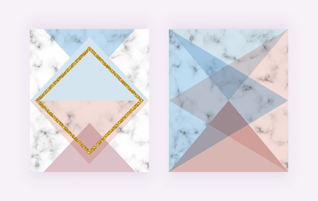 Modern cover with geometric design, golden lines, pink and blue triangular shapes. Wedding, placard, birthday, brochure, banner, banner, cover, layout, card, flyer