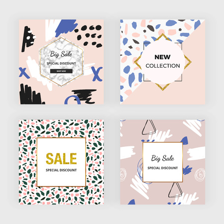Creative hand drawn social media banner. Modern design with colors and colors. Template for mobile apps, card, flyer, invitation, poster, birthday, wedding, party Ilustracja