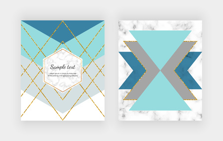 Fashion geometric design with blue, gray triangular shape and golden glitter lines on the marble texture. Trendy background for invitation, placard, birthday, brochure, banner, cover, layout, card, flyer.
