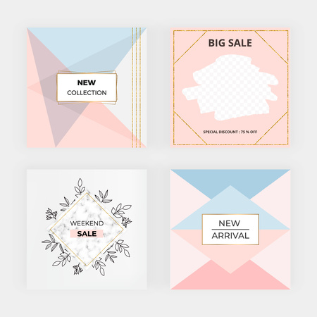 Geometric social media banner. Modern promotion fashion design with flowers, golden lines. Template for mobile apps, card, flyer, invitation, poster, birthday, wedding, party Ilustracja