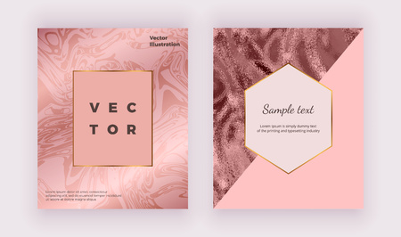 Liquid sparkle glossy marble texture. Geometric covers design with rose gold, pink triangles. Flyer, placard, party, social media, invitation, banner, wedding