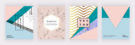Modern geometric covers design. Triangular shapes, marble texture and golden lines. Templates for poster, brochure, wedding, invitation, banner, poster, card, placard, flyer, invite
