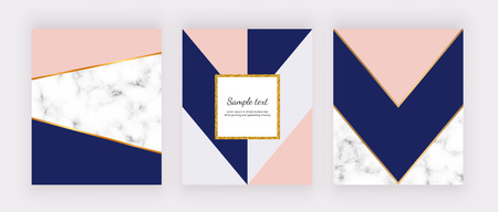 Geometric background with marble texture and pink, gray, blue triangles. Golden glitter frame. Modern design invitation, card, design, banner, wedding, baby shower, poster, cover.