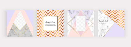 Geometric social media banners with triangles, golden lines. Modern fashion design with marble texture. Template for mobile apps, card, flyer, invitation, poster
