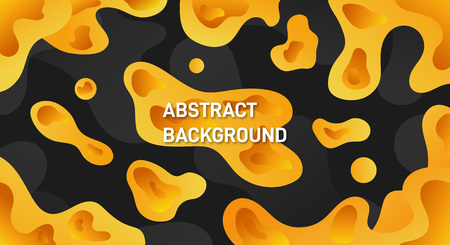 Abstract Yellow liquid modern dynamic dark background vector
