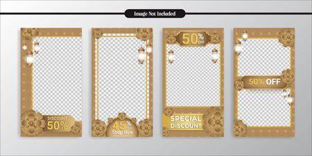 Social Media Islamic gold pattern template layout