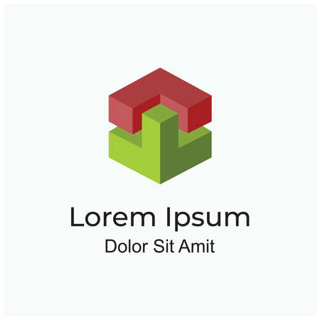 abstract isometric cube or hexagon sign logo concept for property company or architecture brand Logo