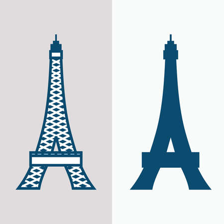 line draw tower - eiffel tower france - vintage blue tower silhouette