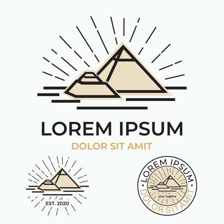 pyramid line draw - seven wonder of the world - simple and elegant pyramid logo