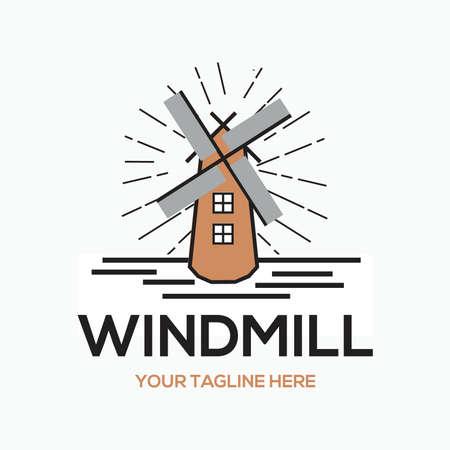 windmill line draw - holland icon - wonder of the world 向量圖像
