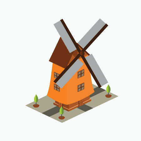 isometric wind mill - simple wind mill building in holland