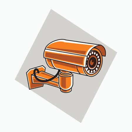 orange CCTV icon - tube shaped CCTV - colored icon, symbol, cartoon logo for security system