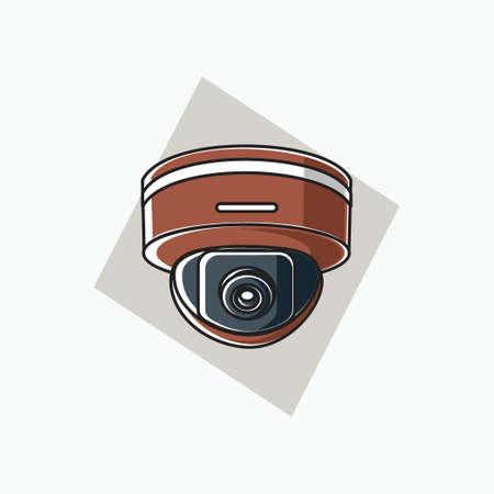 indoor CCTV icon round shaped - brown color - icon, symbol, cartoon logo for security system
