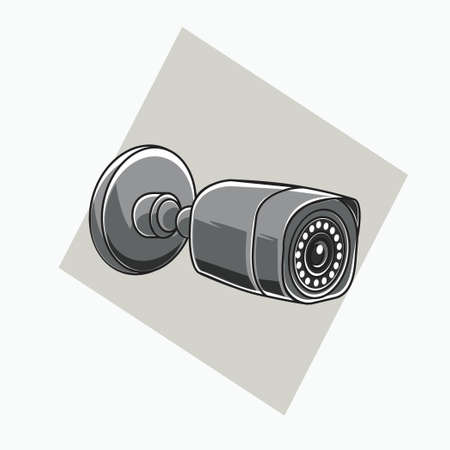 grey CCTV icon - square shaped CCTV - colored icon, symbol, cartoon logo for security system