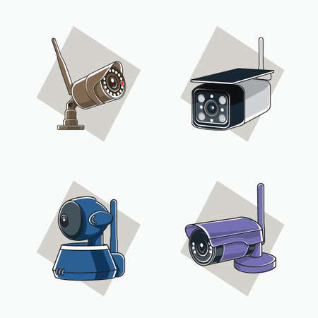 Wireless CCTV icon with antenna (brown, white, blue, purple) - tube, cube, and round shaped CCTV - colored icon, symbol, cartoon logo for security system