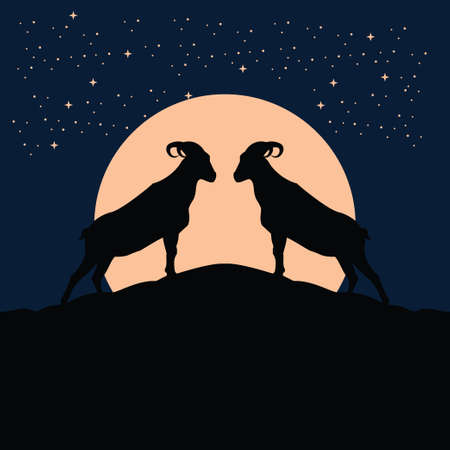 twins billy goat silhouette at the full moon night - goat, sheep, lamb logo emblem or button icon silhouette - mammal, animal vector icon