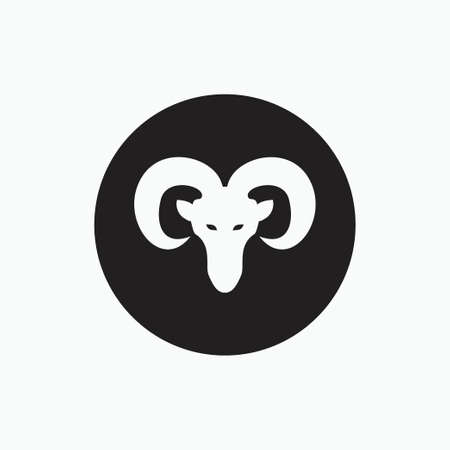 face sheep isolated on black circle - goat, sheep, lamb logo emblem or button icon silhouette - mammal, animal vector icon