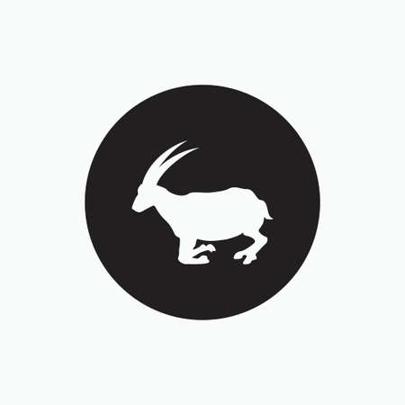 half stand goat isolated on black circle - san clemente island goat, sheep, lamb logo emblem or button icon silhouette - mammal, animal vector icon