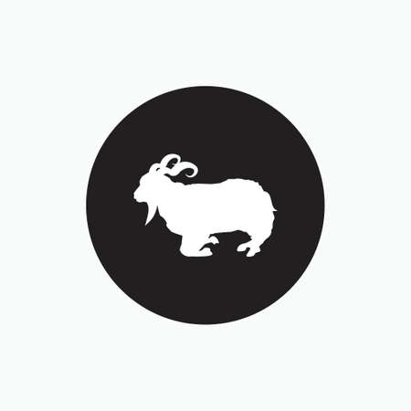 half stand angora goat silhouette isolated on black circle - goat, sheep, lamb logo emblem or button icon - mammal, animal vector icon