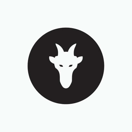 face goat isolated on black circle - goat, sheep, lamb logo emblem or button icon silhouette - mammal, animal vector icon
