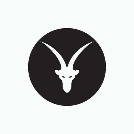 san clemente island goat - face goat isolated on black circle - goat, sheep, lamb logo emblem or button icon silhouette - mammal, animal vector icon