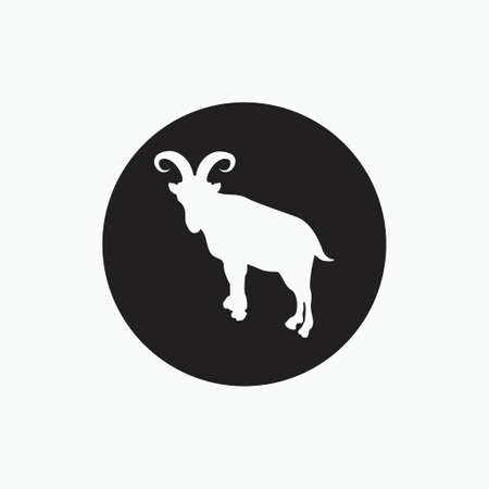 silhouette of billy goat isolated on black circle - goat, sheep, lamb logo emblem or button icon silhouette - mammal, animal vector icon