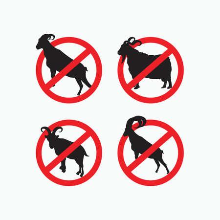 no sheep, no angora goat, no billy goat, no big horn goat - goat, sheep, lamb logo emblem or button icon silhouette - mammal, animal vector icon 矢量图像