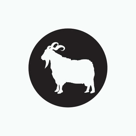 angora goat isolated on black circle - goat, sheep, lamb logo emblem or button icon silhouette - mammal, animal vector icon 矢量图像