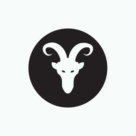 face billy goat isolated on black circle - goat, sheep, lamb logo emblem or button icon silhouette - mammal, animal vector icon