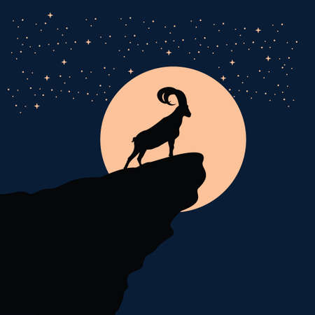 big horn goat silhouette at the full moon night - goat, sheep, lamb logo emblem or button icon silhouette - mammal, animal vector icon