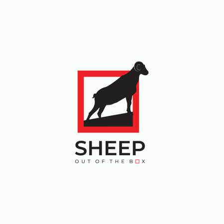 sheep out of the box logo - goat, sheep, lamb logo emblem or button icon silhouette - mammal, animal vector icon
