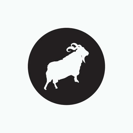 angora goat silhouette isolated on black circle - goat, sheep, lamb logo emblem or button icon - mammal, animal vector icon