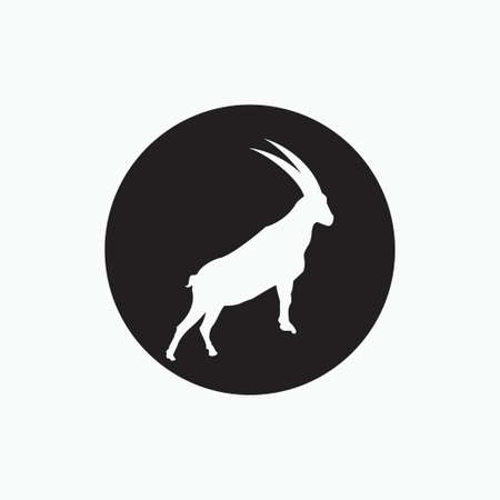 san clemente island goat isolated on black circle - goat, sheep, lamb logo emblem or button icon silhouette - mammal, animal vector icon 矢量图像