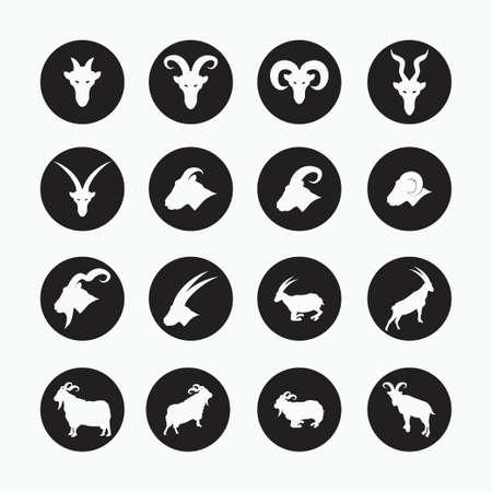 sheep, goat, billy goat, angora goat set icon - mammal, animal vector icon