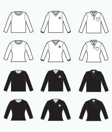 black and white t-shirt, collared clothes with pocket, long sleeves shirt for production clothing, advertisement, apparel textile use
