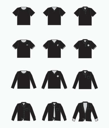 black t-shirt, polo shirt, collared formal cloth, tuxedo icon for production clothing, advertisement, apparel textile use Vector Illustration